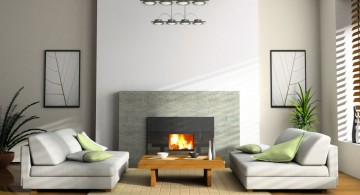 modern white fireplace design with rows of hanging lamp and sofabed