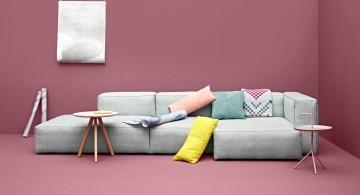 modular sofas in pastel colors