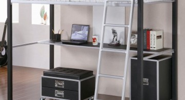 monochrome and masculine loft bed with desk white