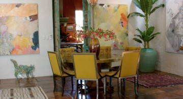 multi colored dining chairs in yellow and black