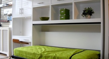 murphy bed design ideas for small rooms in green and white cabinets