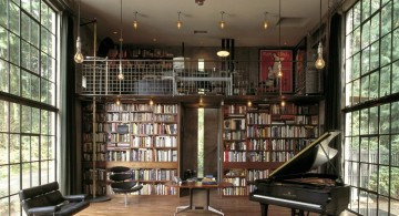 music room designs repurposing library with tall ceiling