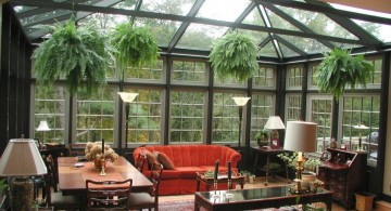 nature themed living room with skylight ideas
