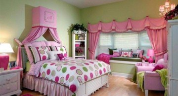 nice rooms for girls with pink curtains and polkadot linen