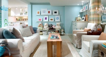 pastel-colored room designs blue basement
