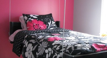 pink and black bedroom decor with hanging bed