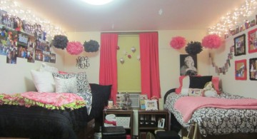 pink and black bedroom decor with twin beds