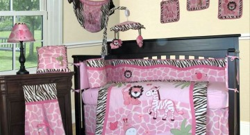pink baby room ideas with safari quilt