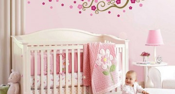 pink baby room ideas with tree painting on the wall