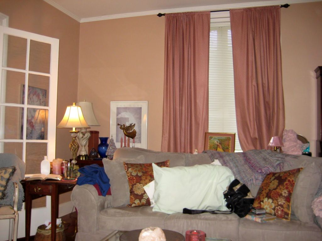 Pink Beige Living Room Walls