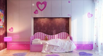 pink toned and wall cabinet cute girls bedroom ideas