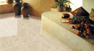 polished white marble tile flooring ideas for living room