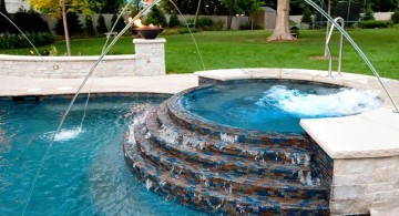 pool with spa designs round half raised jacuzzi with art deco tiles