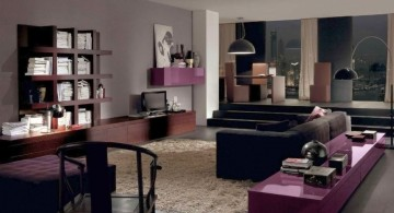 pretty purple wooden wall shelving units for living room