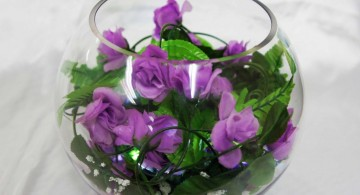 purple roses bouquet bowl centerpiece ideas