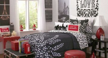red black and white bedroom ideas with chest storage for limited space