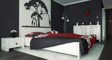 red black and white bedroom ideas with tree painting above the bed