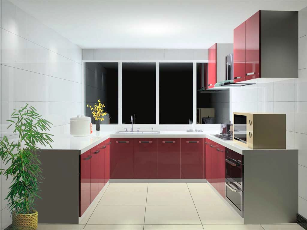 Red lacquer kitchen cabinet in white and grey color scheme for Arredare piccoli ambienti
