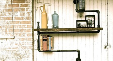 repurpose pipes for vintage industrial bookcase designs