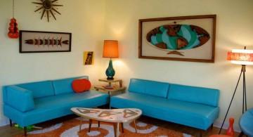 retro living room ideas in blue