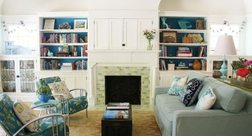 retro living room ideas with fireplace and bookshelves
