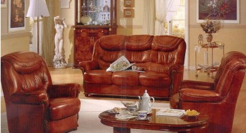 retro living room ideas with plush leather couches