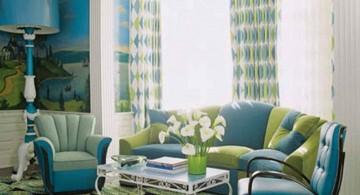 retro turquoise living room