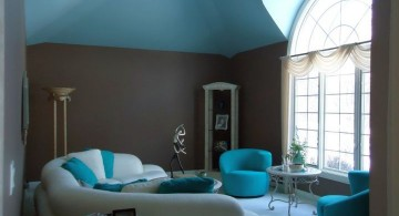 retro turquoise living room with dark walls