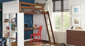 rustic adult loft bed with stairs for small rooms