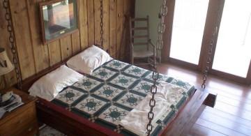 rustic hanging swing bed