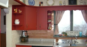 rustic red lacquer kitchen cabinet