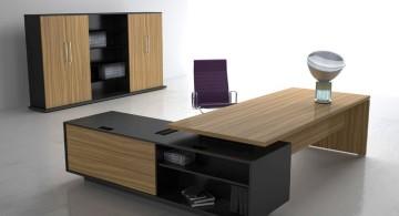 rustic sleek office desk with black shelf