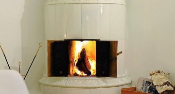 scandinavian fireplace design ideas in the corner