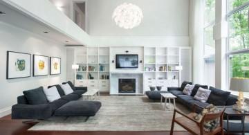 scandinavian fireplace design ideas with luxurious big pendant lamp