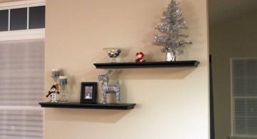short zig zag floating shelf decorating ideas