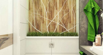 simple bamboo themed bathroom for limited space