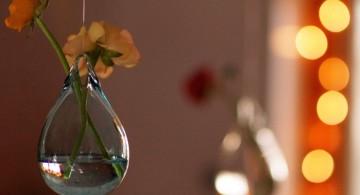 simple big bulb hanging flower vase