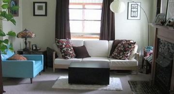 simple blue and brown living room