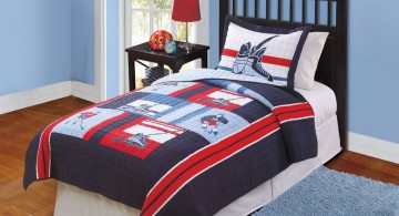 simple blue themed hockey bedrooms