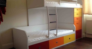 simple funky bunk beds in earth colors