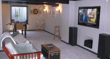 simple lighting ideas for basement with minimum furnitures