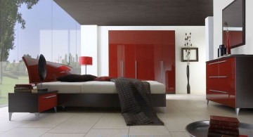 simple modern red and black bedroom