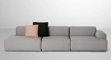 simple modular sofas in grey