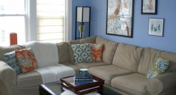 simple on budget blue and brown living room