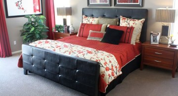 simple red and black bedroom