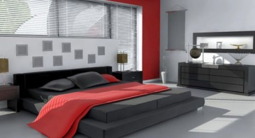 simple red black and white bedroom ideas with black matress