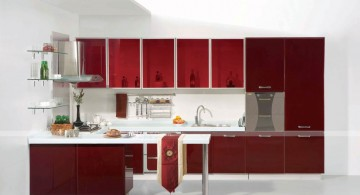 simple red lacquer kitchen cabinet