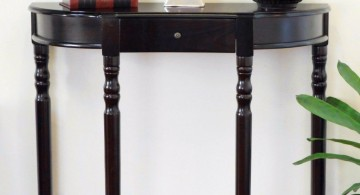 simple single drawer half moon small entry table ideas
