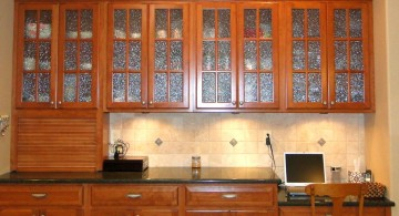 simple varnished with frosted glass ideas for cabinet doors