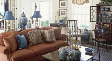 simple vintage blue and brown living room